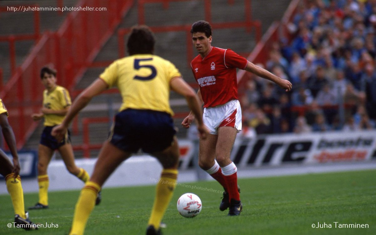 Neil Webb, Nottingham Forest, 12 September 1987, with empty part of the old Bridgford End in the background. #NeilWebb @Forza_Garibaldi @NFFC_TrentEnd #NFFC @stephenhumphr12 @_mattappleby @Archive_NFFC