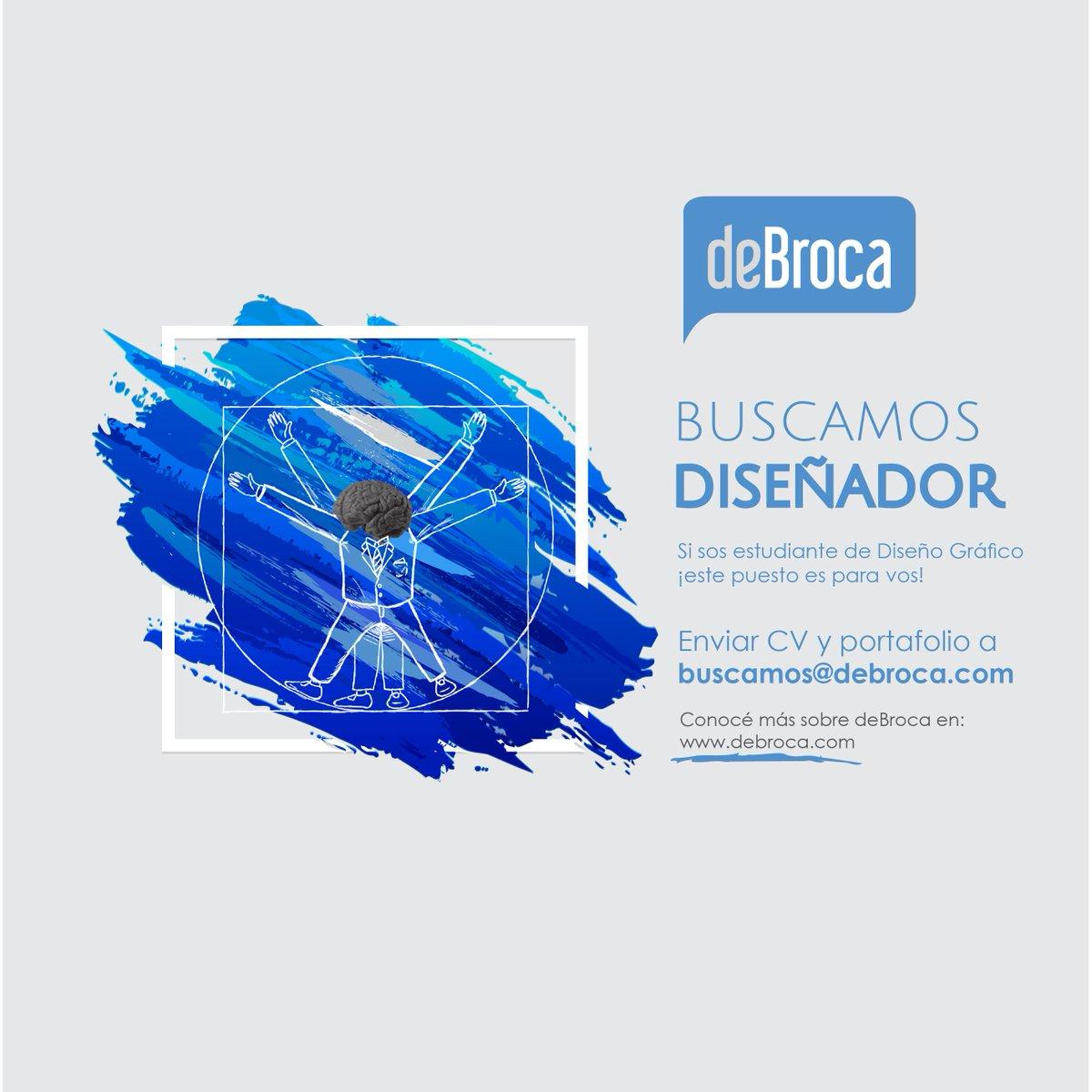 ¿Estás estudiando Diseño Gráfico o Industrial? ¡Tenemos una oportunidad laboral para vos! Enviá tu Portfolio y CV a buscamos@debroca.com