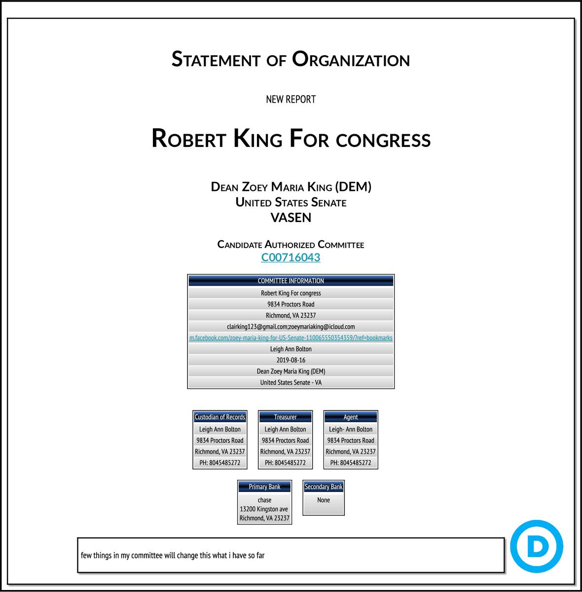 NEW FEC F1 #VASEN Robert King For congress  http:// classic.fec.gov/fecviewer/Comm itteeDetailFilings.do?tabIndex=3&candidateCommitteeId=C00716043  … <br>http://pic.twitter.com/OjCZIDoU2K