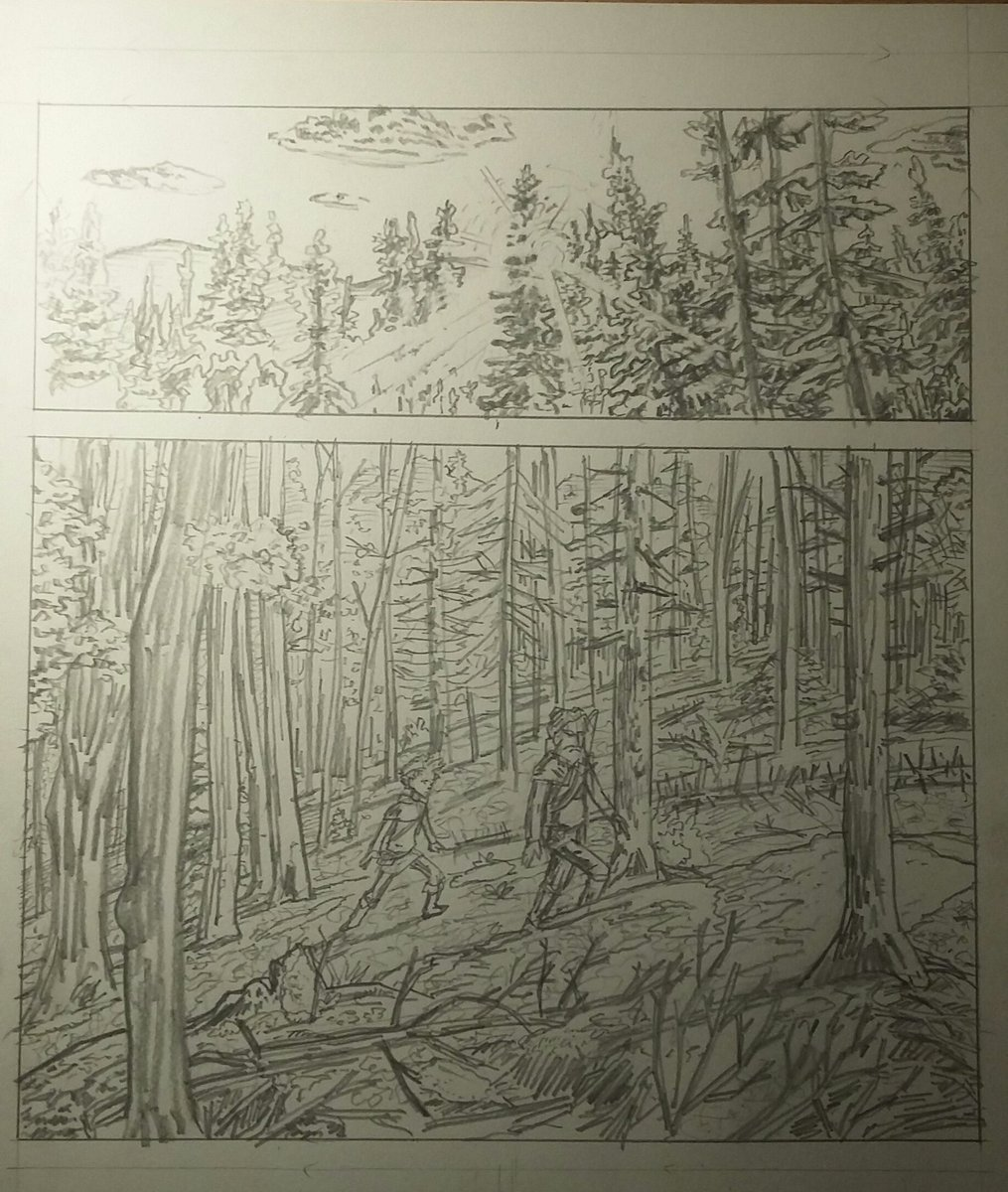 working some pages for a project just to see how it goes and get back to doing sequentials. excited to ink these, and fix some of my errant tangents.  #sequentialart #comicbookart #pencils #comicbook #visualstorytelling #forest #historicalfantasy<br>http://pic.twitter.com/drRYLEH5ZW