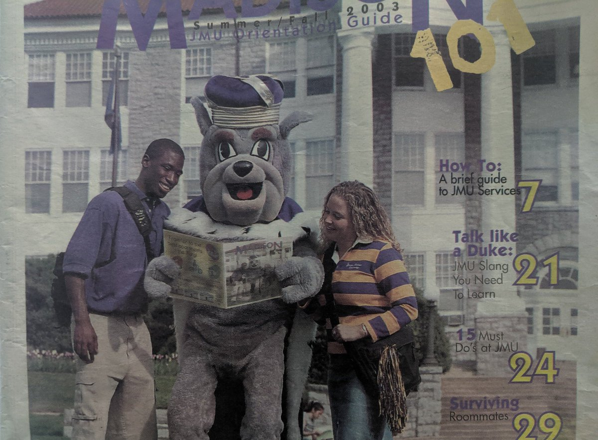 My brother @TheLacroix just told me about the nice chat he had today with @LevarStoney and it made me remember this cover I shot at college. From Tabb HS to @JMU cover model to Mayor of Richmond, we love you Levar! (cc my co-editor @natetharp in the Duke Dog suit!)