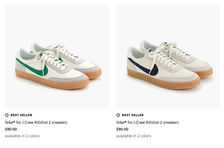 Back in stock  Nike x J Crew Killshot  Navy and Green available  https://t.co/xwHeLVGcBe https://t.co/JgkfJ5SFof