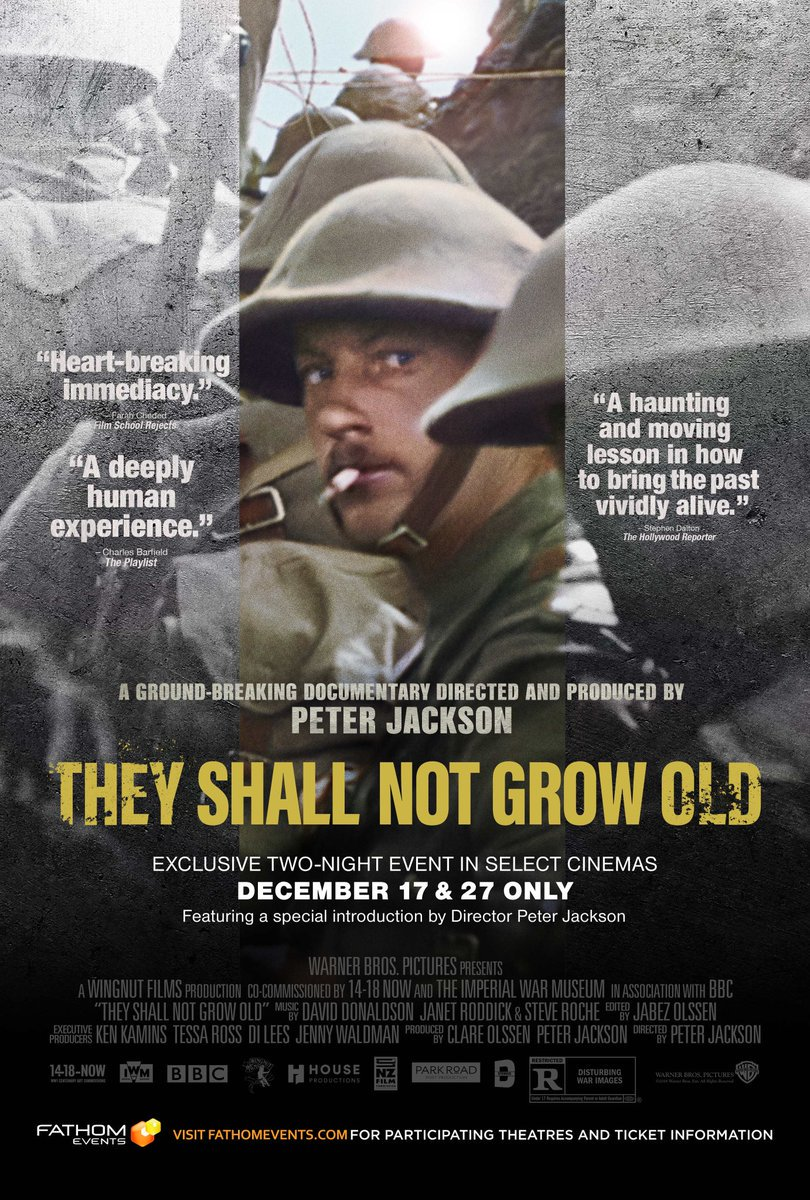 Finally watched this film about World War I this evening. Remarkable, with the colorization and creative sound additions.