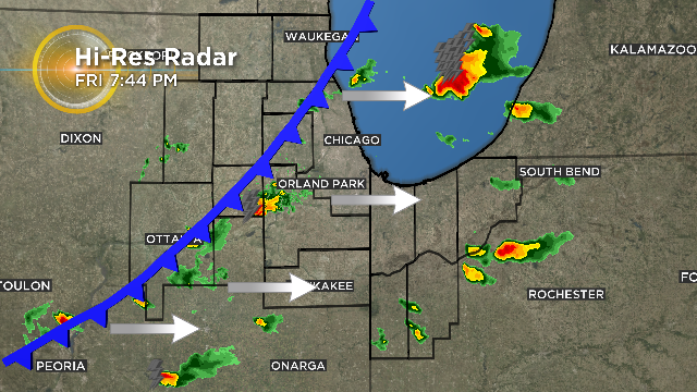 Storms continue to track east ahead of a weak front. Isolated storms could create pea size hail. As dry air fills in behind the front and we lose daytime heating... thunderstorms taper off. @cbschicago