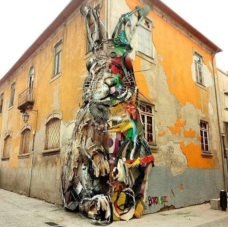 Incredible street art in Lisbon Portugal by street artist Bordalo II 💗💌 @visitportugal