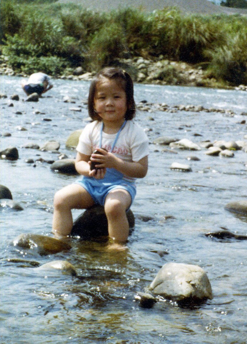 #fridayfeeling: baby jenny in a creek in taiwan holding a rock wearing a shirt that says curaçao <br>http://pic.twitter.com/n1W0e4FJ4U