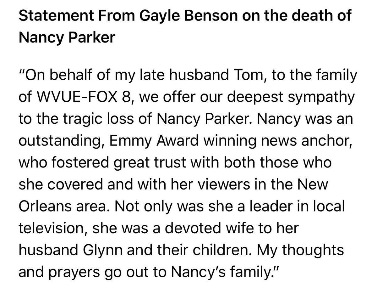 Statement From Gayle Benson on the death of @FOX8NOLA's Nancy Parker