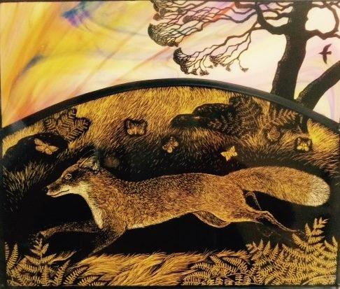 'Fox Run' by Tamsin Abbott, English stained glass artist #womensart