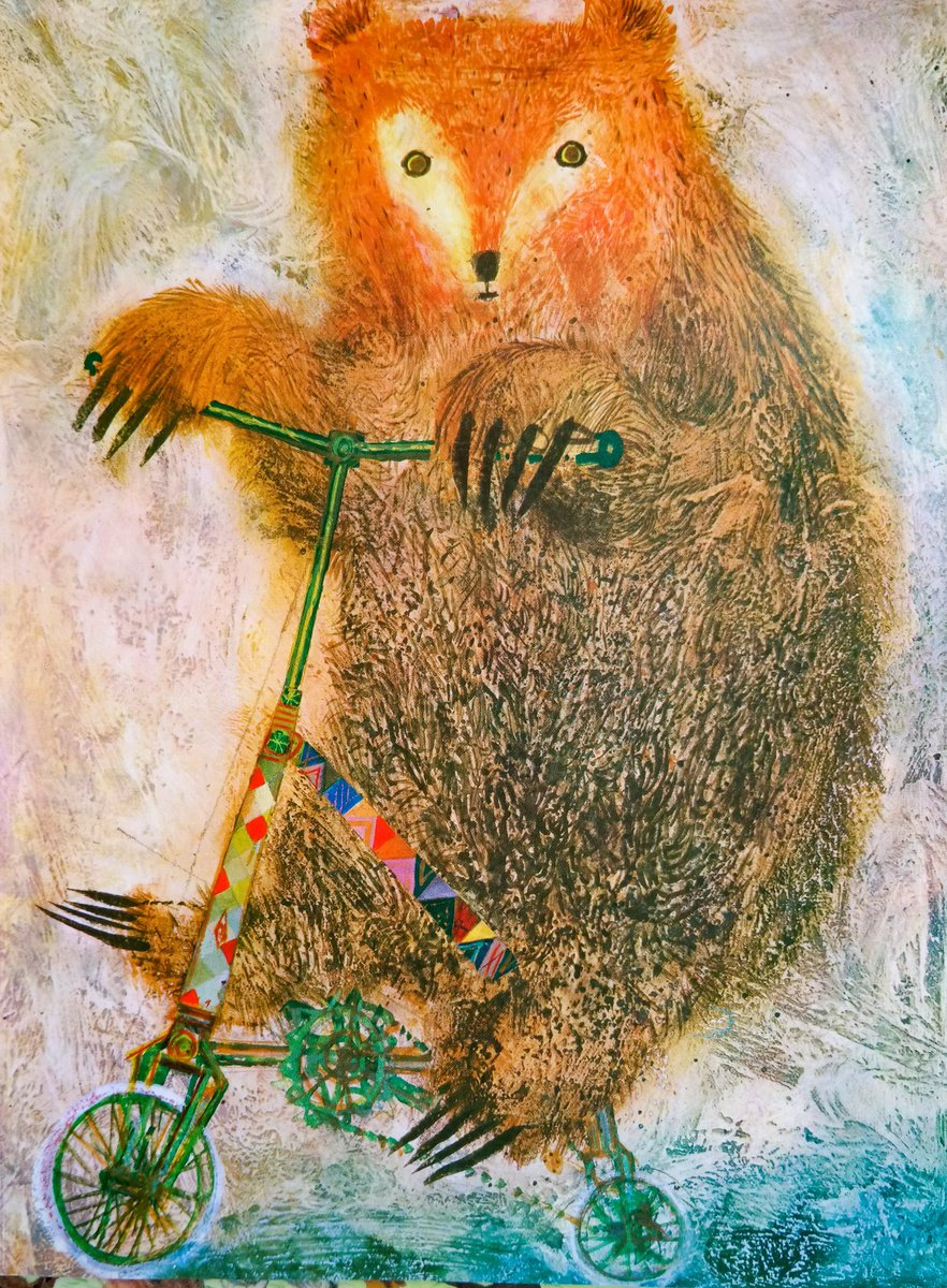 """#BookIllustrationOfTheDay is by Brian Wildsmith for """"Circus"""" (1970). A subject that would be harder to celebrate today, but what astonishing illustrations! They dazzle with colour, astonish with texture and delight with character. I love this huge bear, peddling a tiny cycle! <br>http://pic.twitter.com/CaDioGT9hc"""