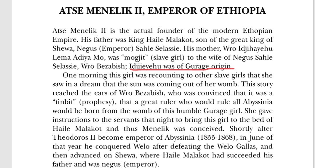 Menelik's mother, Ejigayehu Adiam was a consort or mogjit. Because she was of low lowly status there was not much information about her background, and people started guessing she was Oromo, which is incorrect. Local tradition states she was either of Gurage or Menz origin <br>http://pic.twitter.com/DLX1uLMqhH