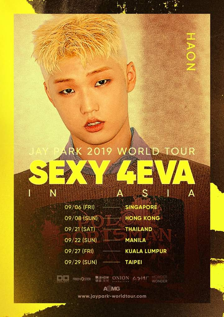 #HAON will be joining Jay Park @JAYBUMAOM on his SEXY 4EVA IN ASIA TOUR this coming September! Be sure to get your tickets to the show if you have yet to do so! Check out the link here for more information! ⬇️⬇️⬇️ x-clusive.sg/2019/07/jay-pa… #KimHaon #HAON #JayPark #SEXY4EVA