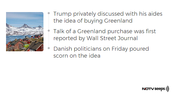 """We're Not For Sale,"" Greenland Tells Trump Amid Reports Of Purchase https://www.ndtv.com/world-news/greenland-tells-donald-trump-its-not-for-sale-ahead-of-his-denmark-visit-2086092 … #NDTVNewsBeeps"