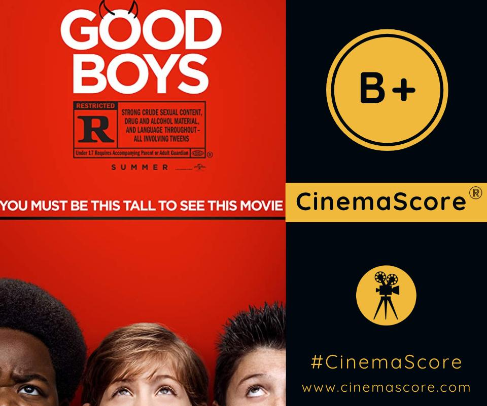 . @GoodBoysMovie receives a B+ #CinemaScore grade from movie audiences! What did you think of the movie?