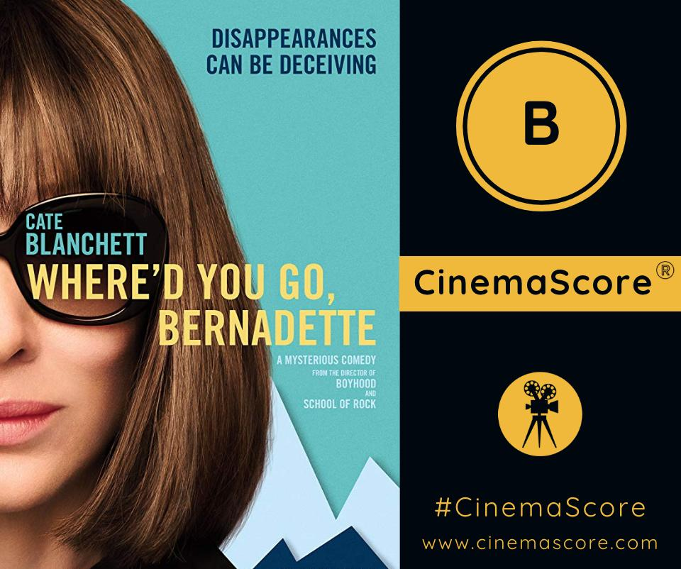 The grade is in for #WheredYouGoBernadette . Do you agree with the B #CinemaScore grade?