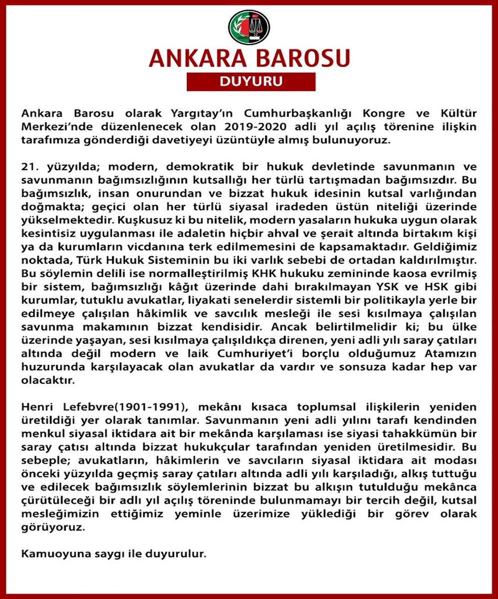 Ankara Barosu olarak Yargıtay'ın Cumhurbaşkanlığı Kongre ve Kültür Merkezi'nde düzenlenecek olan 2019-2020 adli yıl açılış törenine ilişkin tarafımıza gönderdiği davetiyeyi üzüntüyle almış bulunuyoruz. bit.ly/2Z9qkuj