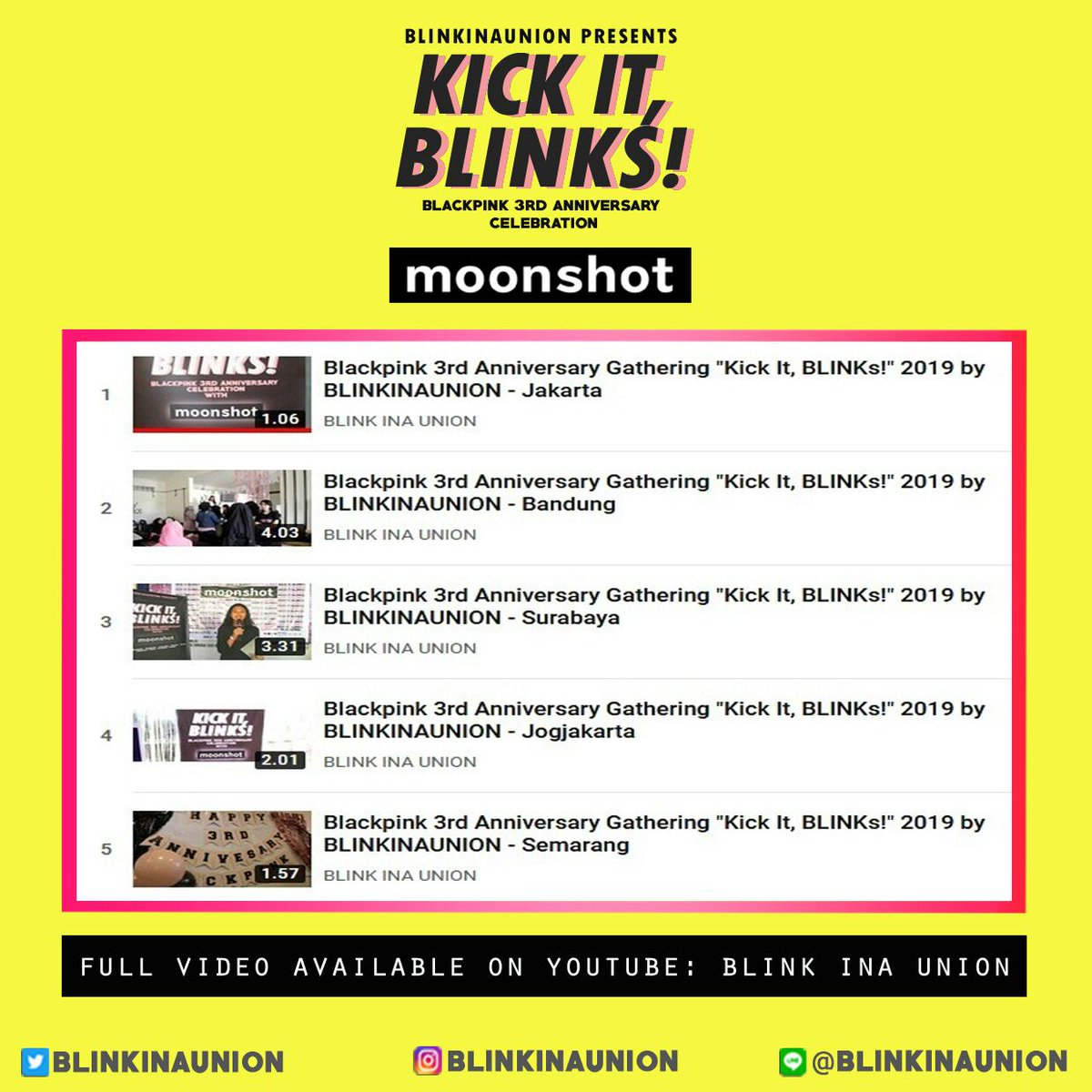 [ VIDEO BLACKPINK 3rd ANNIVERSARY GATHERING Kick It, Blinks! 2019 by @blinkinaunion x @moonshot_idn ] Terimakasih BLINK INDONESIA! LINK VIDEO PLAYLIST » youtube.com/playlist?list=… Jangan lupa LIKE & SUBSCRIBE YouTube Channel: BLINK INA UNION » youtube.com/channel/UC7j9W…