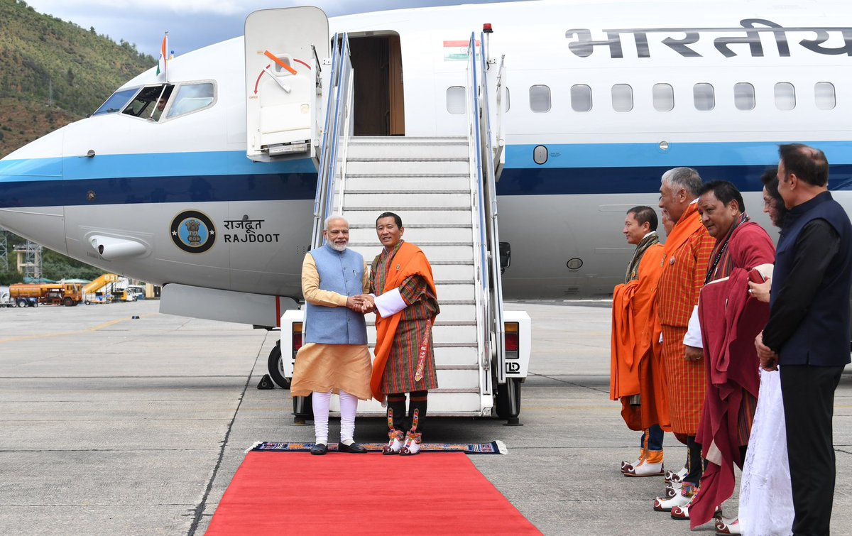 Reached Bhutan a short while ago, marking the start of an important visit. I am extremely grateful to @PMBhutan for welcoming me at the airport. His gesture is deeply touching. https://t.co/75EYI4ItTz