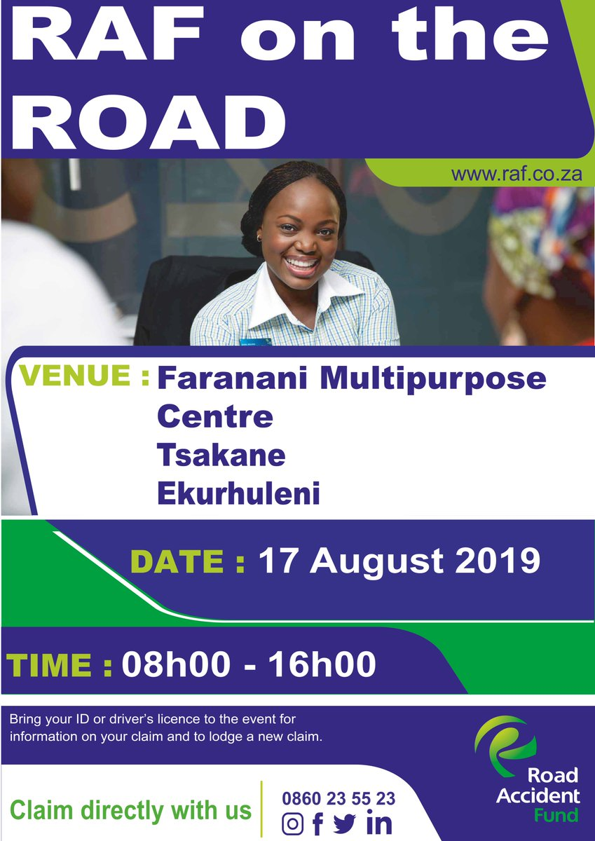 In need of assistance from the RAF and you are around Tsakane? Make your way to Faranani Multipurpose Centre from 08:00 - 16:00 today. #WeCare #ServiceToThePeople #RAFORTsakane
