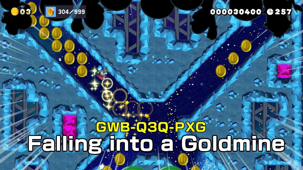 #SuperMarioMaker2 #NintendoSwitch Super Mario Maker 2! Falling into a Goldmine: GWB-Q3Q-PXG. This one is a gold rush! <br>http://pic.twitter.com/bMKVnrcdse