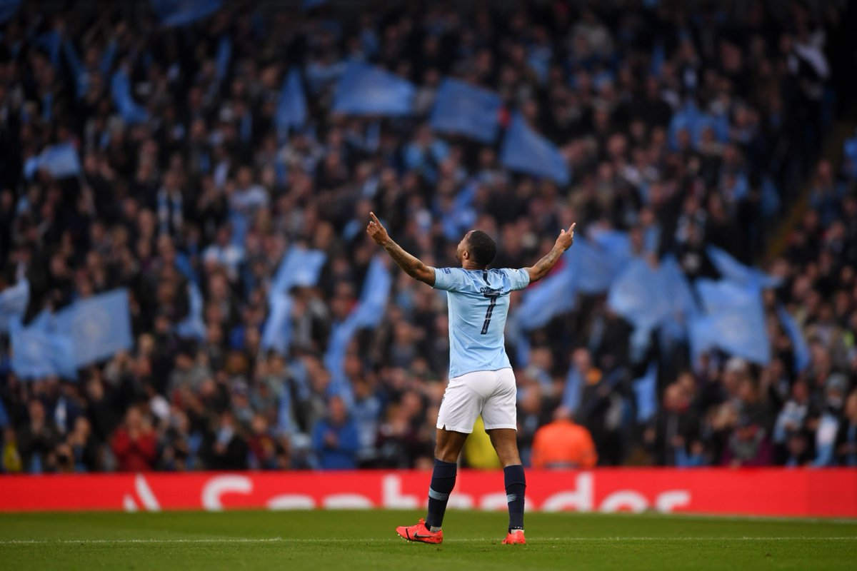 🔥 @sterling7 has been directly involved in six goals in his last six appearances against Spurs in all competitions: ⚽️ 5 Goals 🅰️ 1 Assist Raheem has scored four goals in his last three appearances against Spurs at the Etihad Stadium. #MCITOT 🔵