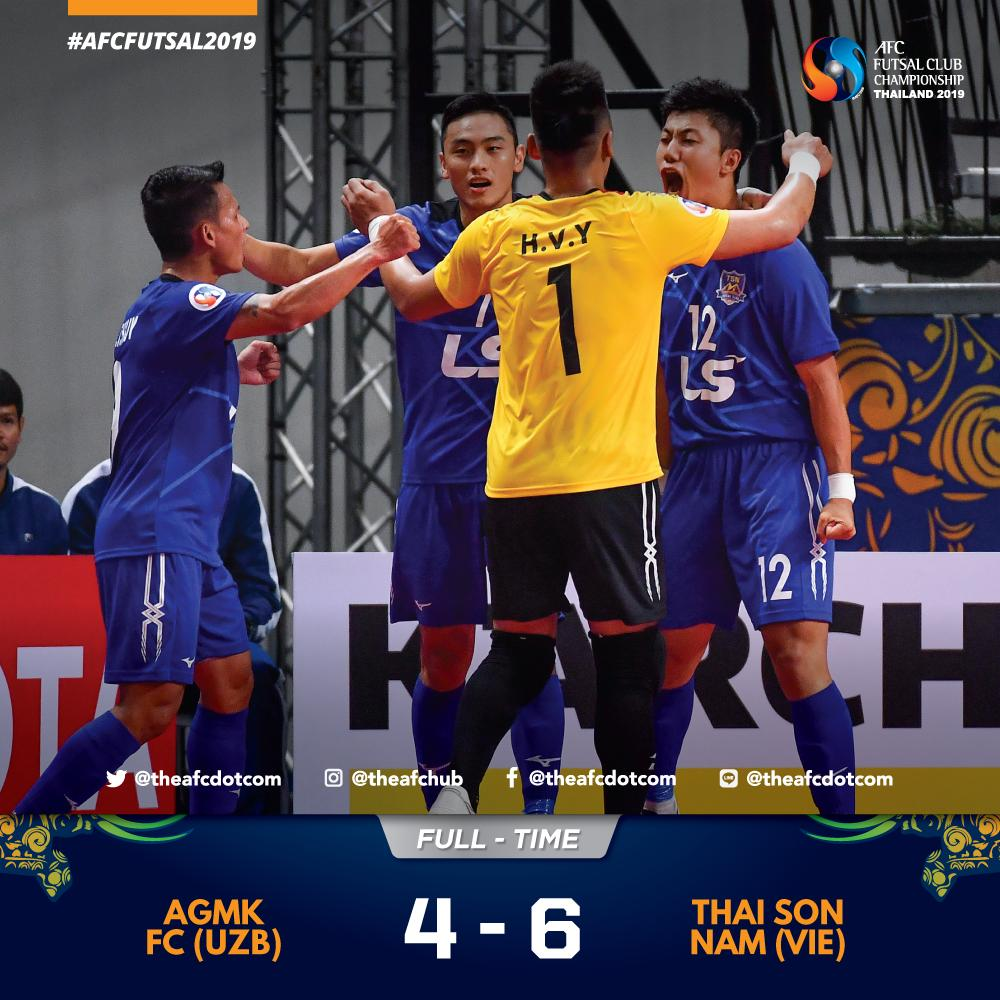 FT: AGMK 🇺🇿 4 - 6 🇻🇳 Thai Son Nam Thai Son Nam come from behind to defeat AGMK FC to clinch the #AFCFutsal2019 third place!