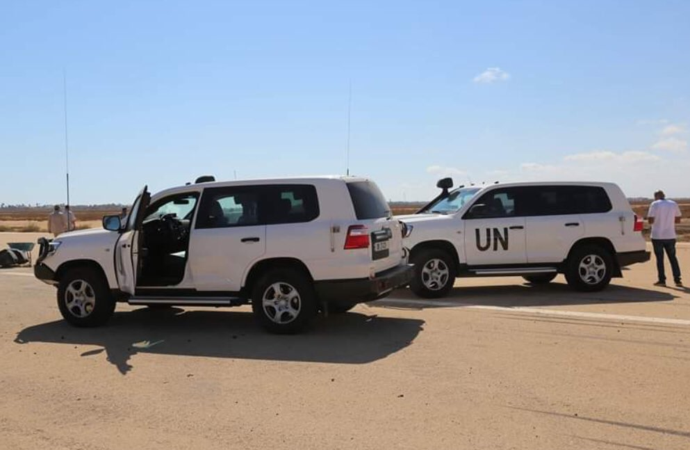 A fact-finding team from @UNSMILibya / #UN visits Zwara airport to evaluate the damage and to make sure the airport has no military targets/operations within it. #Libya