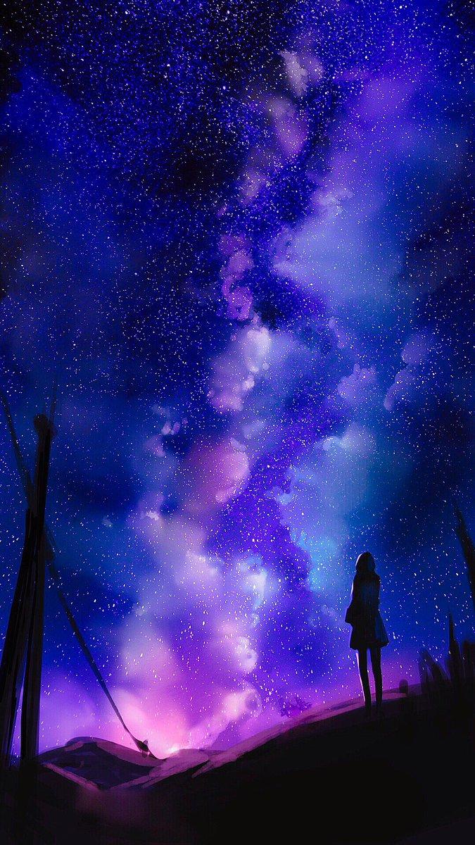 Nimoo On Twitter 夜空の壁紙を描いてみた イラスト好きな人