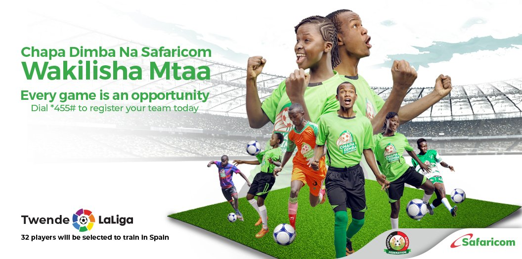 You could be one of the 32 stars who go to train in La Liga Spain. Dial *455# to get more information on how to register your team for Chapa Dimba na Safaricom. Deadline to register is 6th September 2019. bit.ly/ChapaDimba #ChapaDimbaNaSafaricom @SafaricomPLC