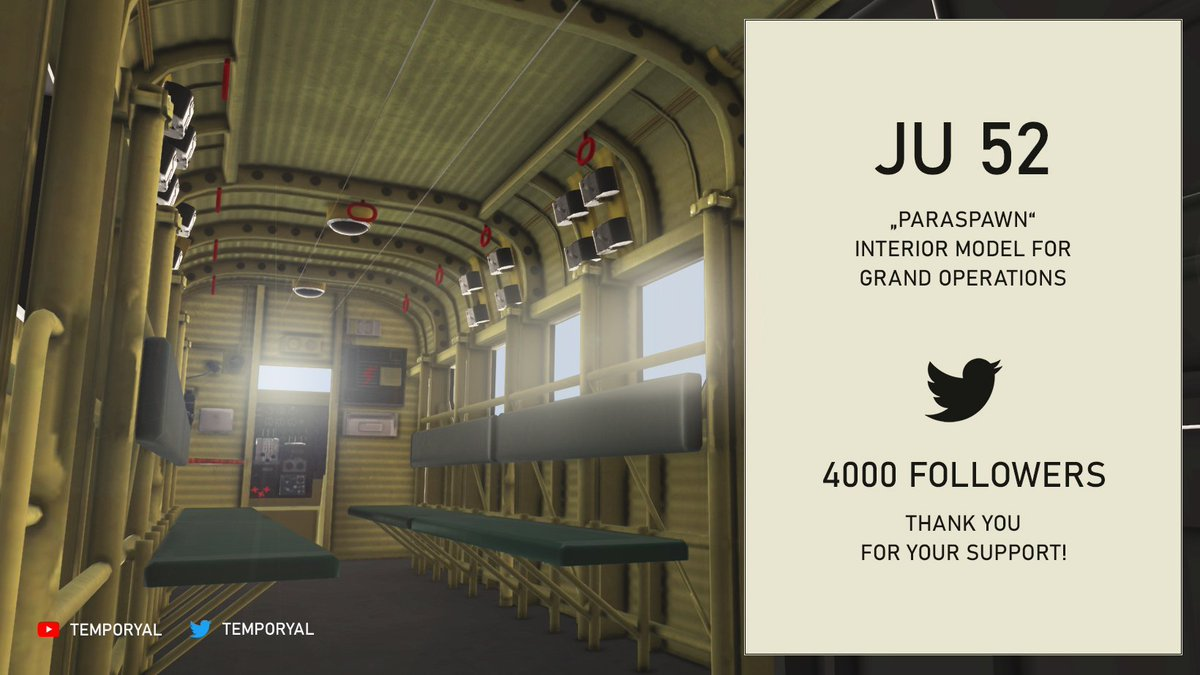 4000 followers on Twitter - Thanks guys! Here is a quick rendering of the JU 52 interior model for the Airborne mode in Grand Operations. It was added to the #BattlefieldV files three months ago. There is even a dedicated German paratrooper crew waiting to be used in the game... <br>http://pic.twitter.com/XXlD04Luh9