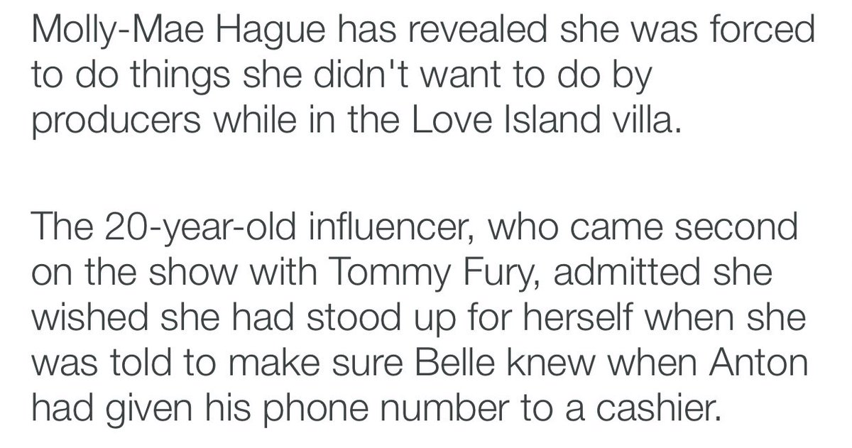 so you all bullied molly mae and made this idea in your head that she was fake and bitchy over things she was forced to do by producers lol. you have to laugh. people need to stop taking reality tv at face value and understand IT. ISNT. REAL. #loveisland <br>http://pic.twitter.com/xV8Brntnqw