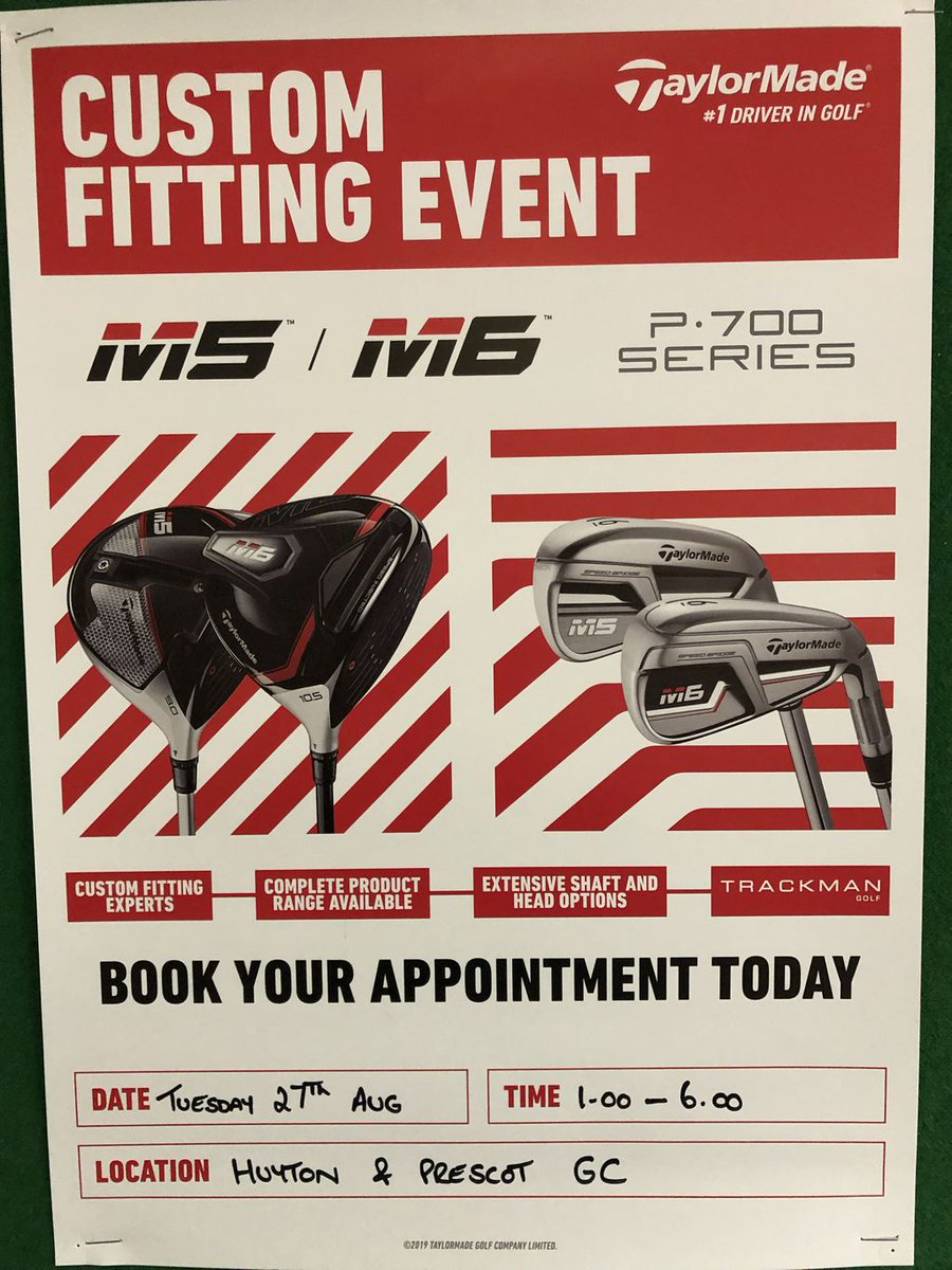Taylormade Custom Fitting Event at our Golf Club on Tuesday August 27th. Time slots from 13:00-18:00. Try the new P790 irons or finally get your hands on the M5 and M6 range and let the numbers speak for themselves. Book your time slot in the Pro Shop today.