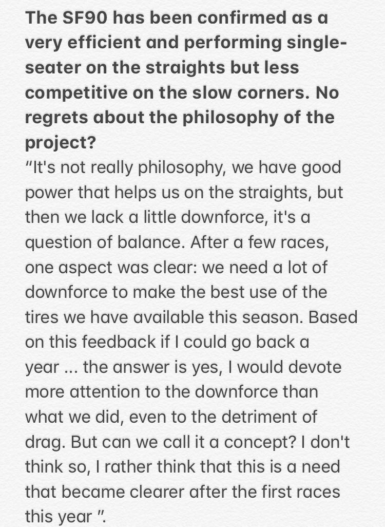 "No regrets about the philosophy of the project #SF90 ? Mattia Binotto:""It's not really philosophy, we have good power that helps us on the straights, but then we lack a little downforce,it's a question of balance"" Read the complete answer👇#F1 #essereFerrari"