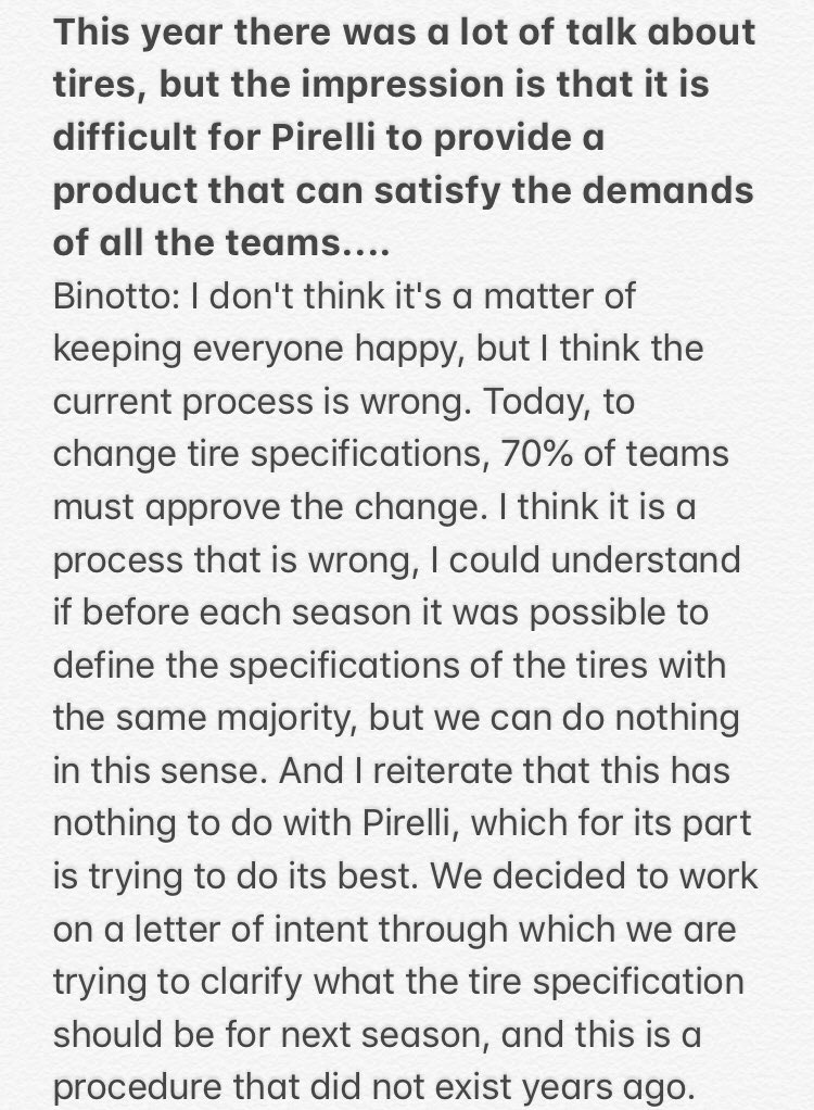 """This year there was a lot of talk about tires,it is difficult for @pirellisport to provide a product that can satisfy all the teams ...  Binotto """"I don't think it's a matter of keeping everyone happy, but I think the current process is wrong."""" to read the complete answer 👇#F1"""