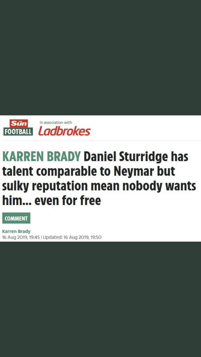 After questioning Aston Villa's transfer policy last week, Karren Brady moves on to Daniel Sturridge's struggle to find a new club in her Sun column. Have to question how this kind of thing helps West Ham's image #whufc <br>http://pic.twitter.com/ipcGzHWY3v