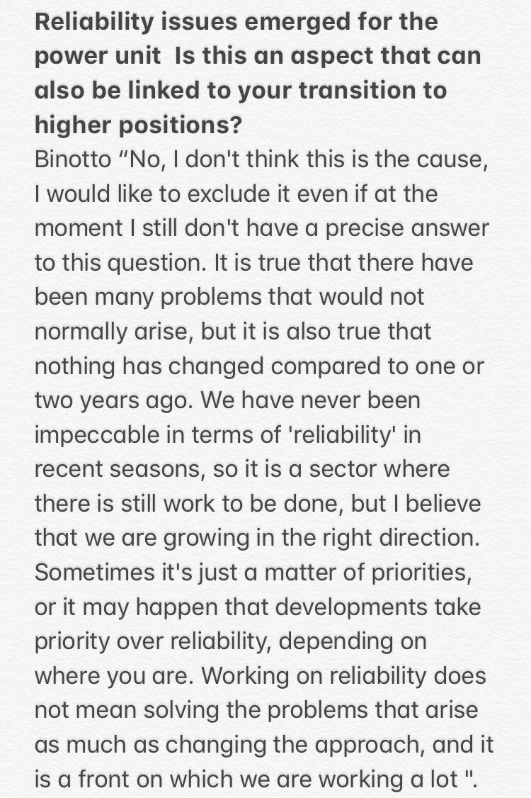 Binotto  talks about the reliability problems that emerged in the first part of the season on the power unit @ScuderiaFerrari ! To read his answer look 👇 #F1