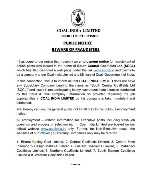 Coal India Cautions Against Fake SCCL Employment Notice For 88585 Posts