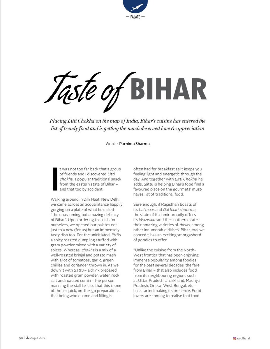 Taste of #Bihar: So happy that my bit was chipped in this article concerning the growing interest and popularity of Bihari cuisine. Give it a read. #food<br>http://pic.twitter.com/Abuf1y50Ma