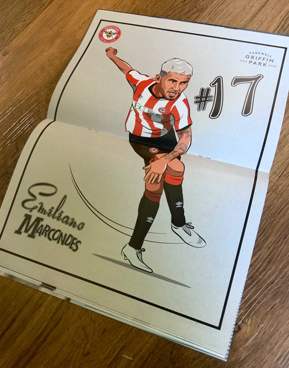 Great to see my 50s style Emiliano Marcondes illustration in today's @BrentfordFC match day programme