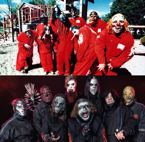20 years of photography with theses guys. Congratulations to @slipknot on the number one album. Des Moines 1999 & Las Vegas 2019 both for @KerrangMagazine #slipknot #wearenotyourkind #wanyk #kerrang #musicphotography