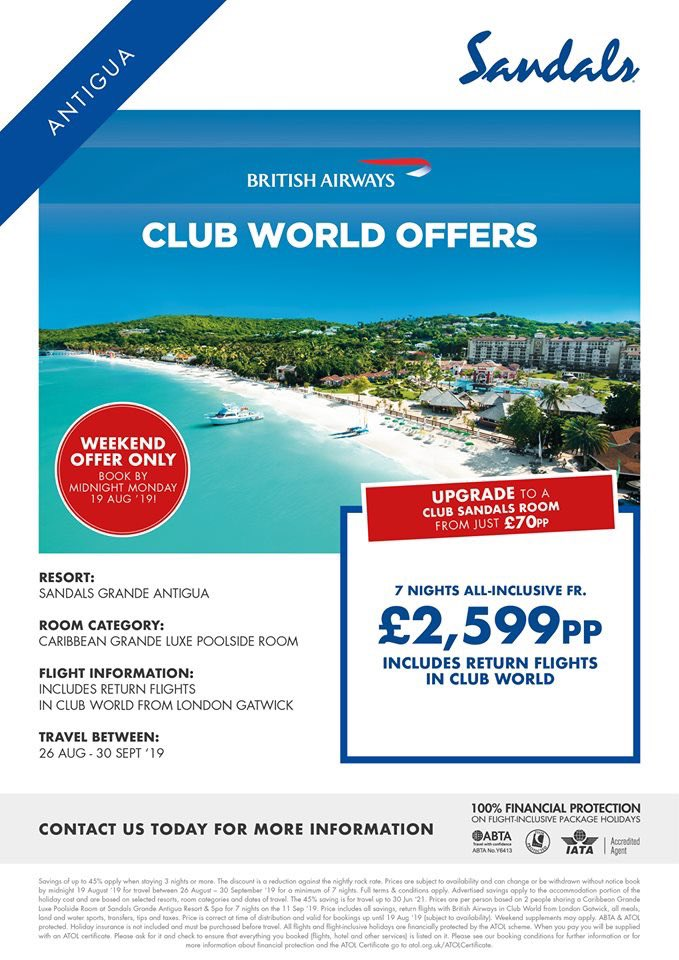 😍ULTRA ALL INCLUSIVE LUXURY SANDALS HOLIDAY😍 ➡️Sandals Grand Antigua for 7 Nights ➡️London Gatwick Flights ➡️Club World British Airways Return Flights 📆Travel Dates Between: 26th August - 30th September 2019 ❌TOTAL - £2599 PER PERSON❌ 📲PM or call today to book