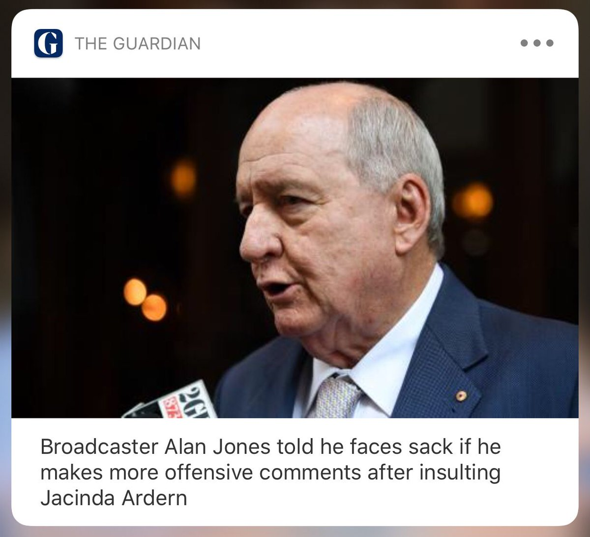 #BREAKING: Alan Jones told he will be sacked if he makes more offensive comments. I have today discussed the matter with Alan and advised him that any recurrence of commentary of this nature will result in the termination of his contract buff.ly/2TP70S5 from @meadea