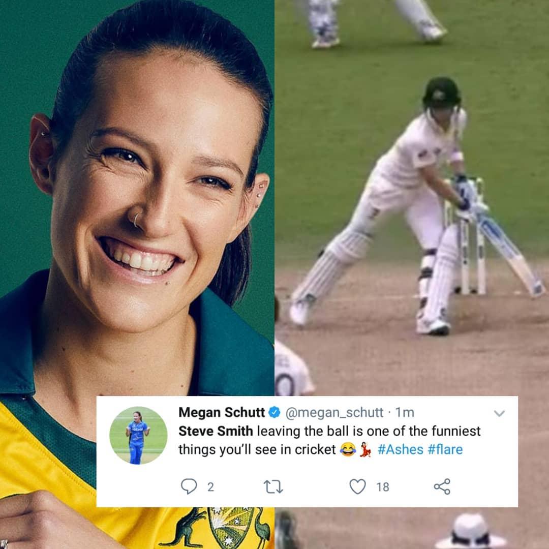 One more reason to be mad about him!❤️❤️😂😂..@megan_schutt3 @steve_smith49...#stevesmith #cricketaustralia #australia #davidwarner #ashes #Cricket #TheAshes #TestCricket