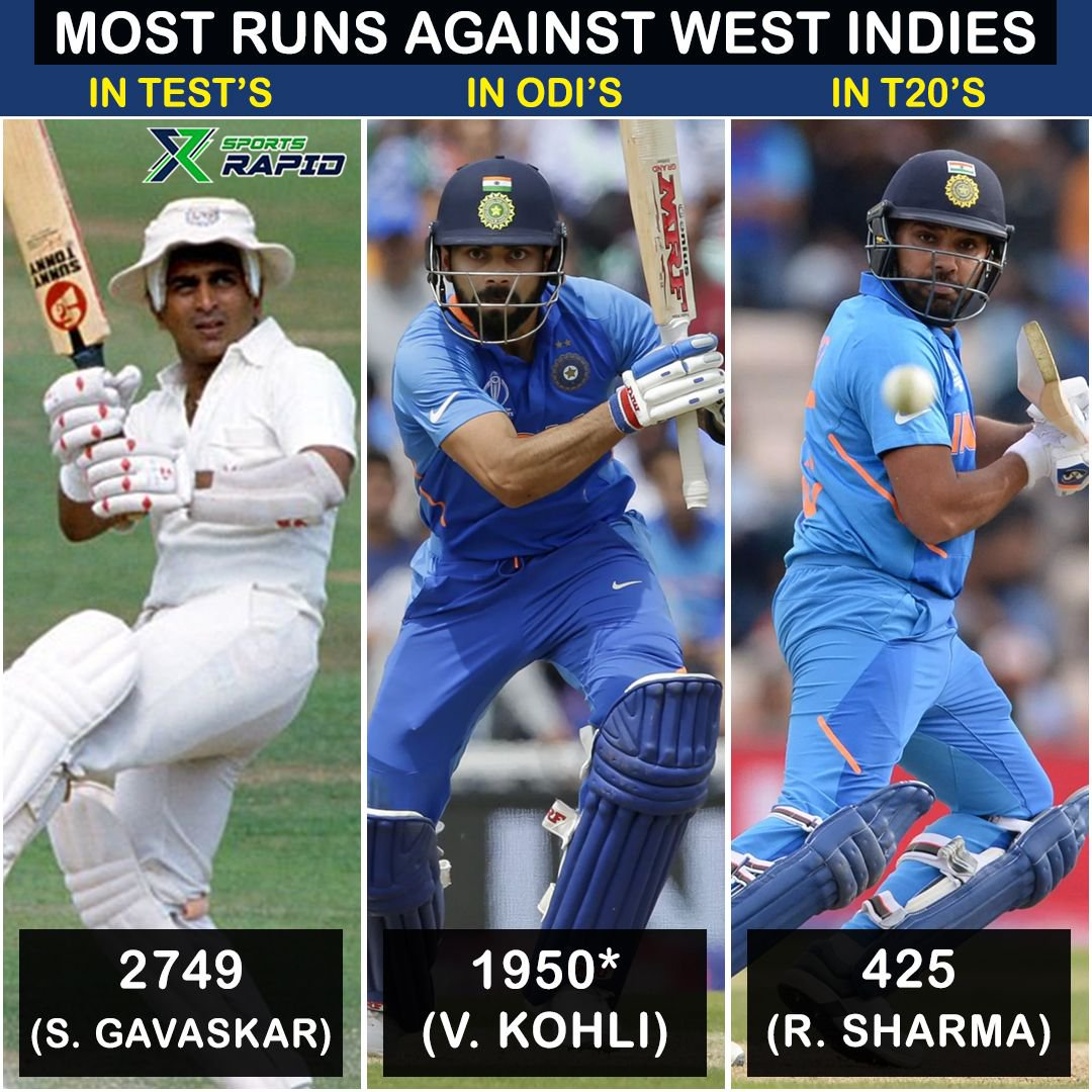 Highest scorers against West Indies for India.. 3 absolute legends of the game!⠀⠀⠀⠀#ViratKohli #RohitSharma #SunilGavaskar #BCCI #IndianCricket #WestIndiesCricket #MenInBlue #Cricket
