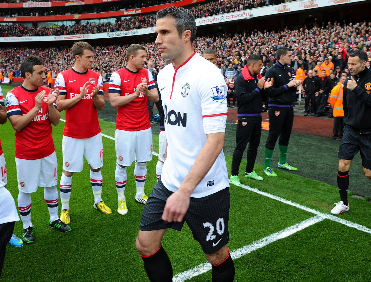 RVP at the Emirates on the anniversary of his move to United. Lovely.