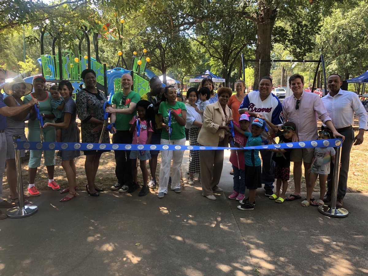 It's a great day in the city! Thank you to everyone who joined us today for the ribbon cutting for the new playground at Mozley Park. The new playground is absolutely wonderful!