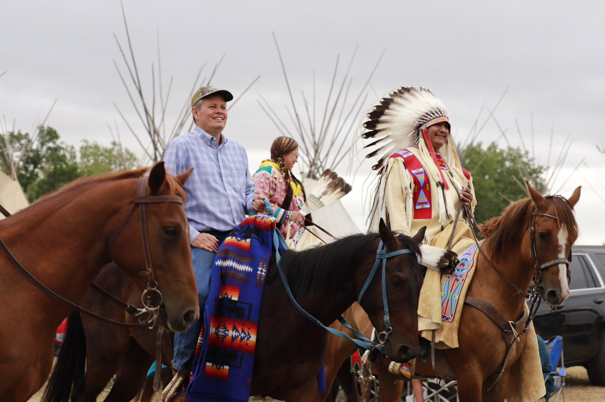 Honored to ride side-by-side with Chairman AJ Not Afraid today at the Crow Fair.