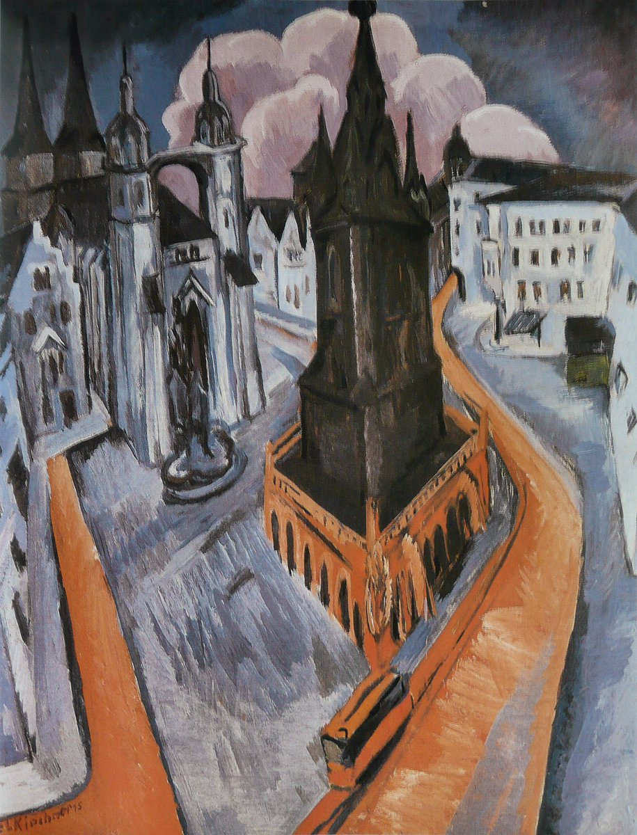 The Red Tower in Halle, 1915 #expressionism #kirchner