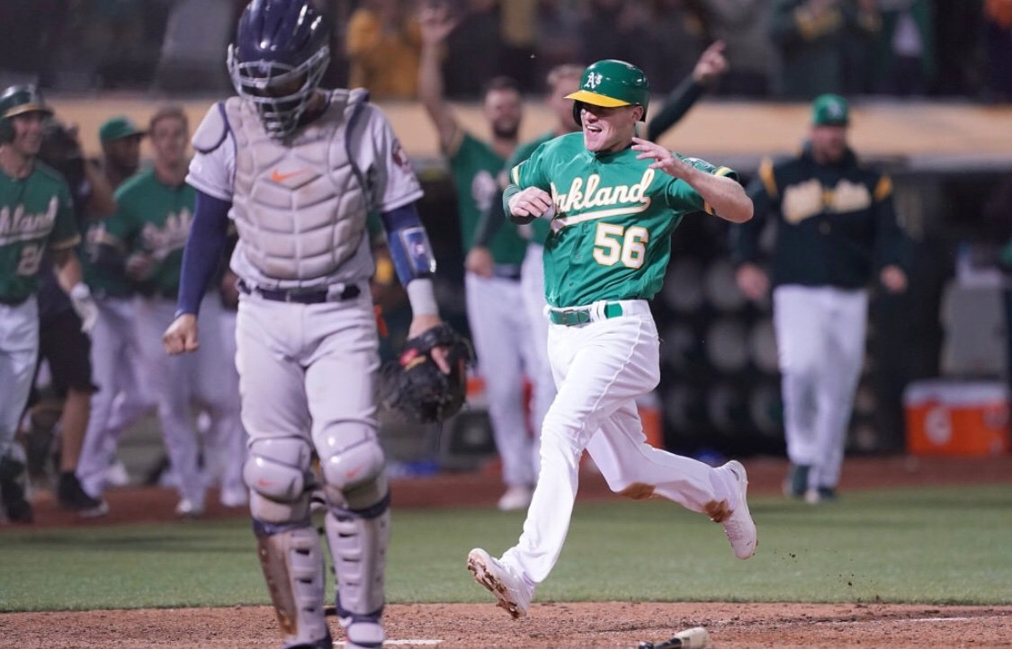Corban Joseph has earned every bit of this joy he's found with the A's theathletic.com/1143907/2019/0…