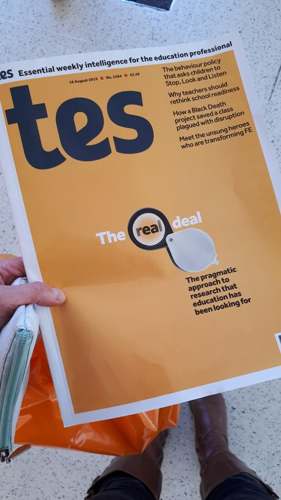 Oh wow...when you go into the supermarket and realise your piece advocating for #realistevaluation in education and #ented is on the front cover of @tes. Cool @ivandiego @NigelCulkin! Thank you TES for opportunity to write :-).