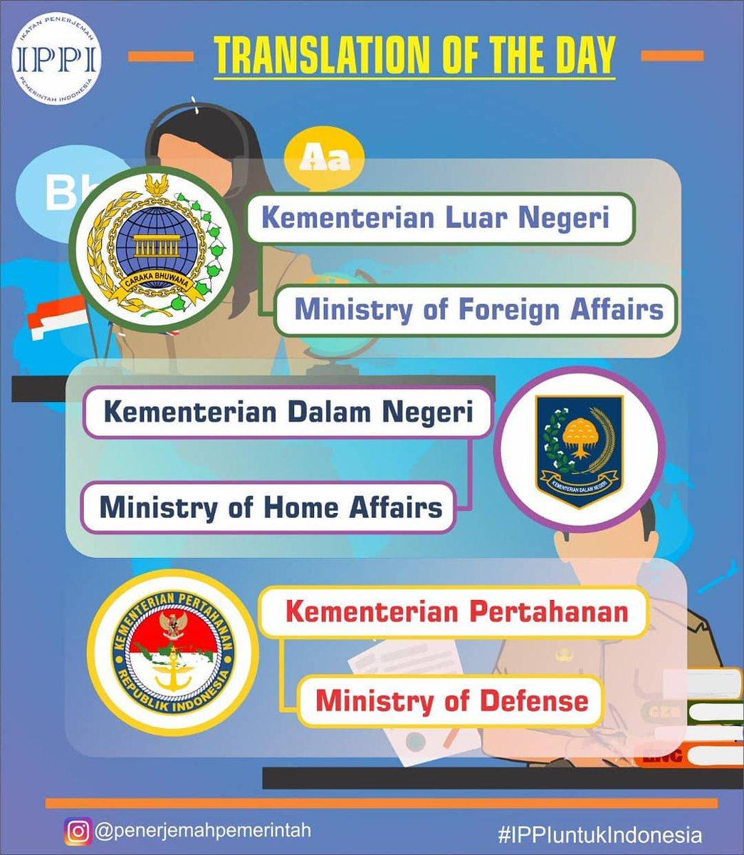 Ivan Lanin On Twitter Nama Kementerian Republik Indonesia Dalam Bahasa Inggris Dari Ippi Penerjemah Utas Thread Padanan